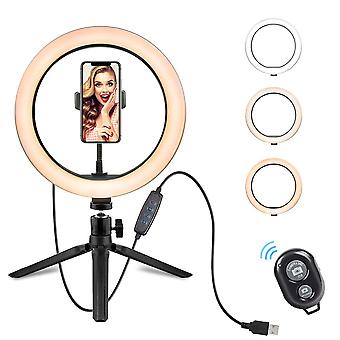 10 inch led ring light dimmable desktop selfie light tripod stand for youtube tiktok video live stream makeup photography (black)