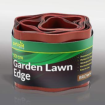 Parkland Plastic Garden Grass Lawn Edge Edging Border Fence (10cm x 9m, Brown)