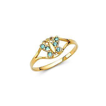 14 Καράτια Κίτρινο χρυσό CZ κυβικά Zirconia προσομοιωμένο Diamond Δεκέμβριο αγόρια και κορίτσια δακτύλιο μέγεθος 3-. 7 γραμμάρια