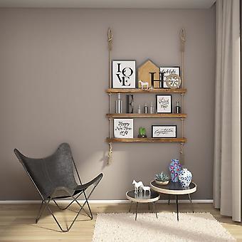 Halatli Shelf Color Oak, Drewno Ecru, Juta, L100xP9xA125 cm