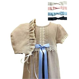 Christening Gown In Lin - Grace Of Sweden - Short Sleeve And Bonnet, 4 Choices Of Bows