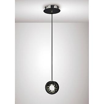 Salvio Pendentif Lampe Round Sculpture 1 X 3w Led Chrome / Noir