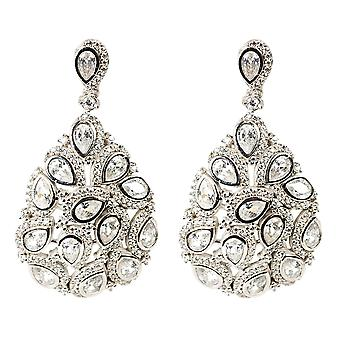 Latelita Peacock Feather Large Statement Earring 925 Sterling Silver CZ
