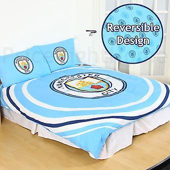 Manchester City FC officielle dobbelt dynebetræk og pudebetræk scenografi puls