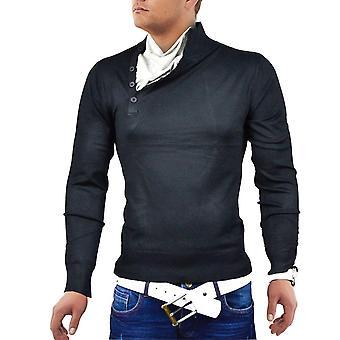 Suéter de los hombres de punto pie cuello de la camisa suéter Japón estilo sudor