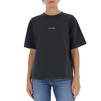 Acne Studios Al0149black Kvinnor's Black Cotton T-shirt