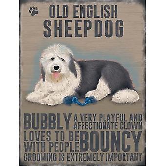 Old English Sheep Dog Metal Sign