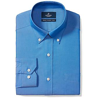 BUTTONED DOWN Men's Tailored Fit Button-Collar Solid Non-Iron Dress Shirt (Po...