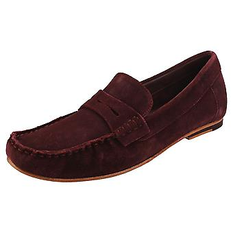 London Brogues Harry Mens Loafer Shoes in Burgundy