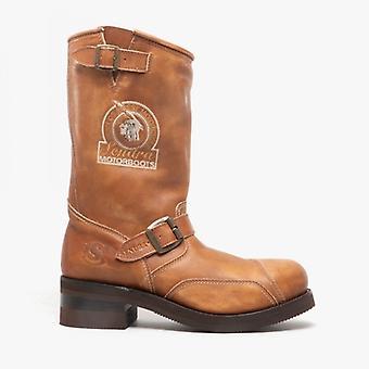Sendra 3565 Mens Leather Buckle Biker Boots Tan