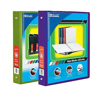 Combo47, BAZIC 1 Inch 3-Ring View Binder with 2-Pockets (Case pack of 24 consist 12-Lime Green & 12-Purple)