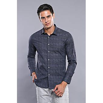 Plaid nero men's camicia wessi