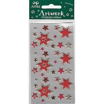 زخرفة حرفة النجوم عيد الميلاد الحمراء والذهب من أرتوز