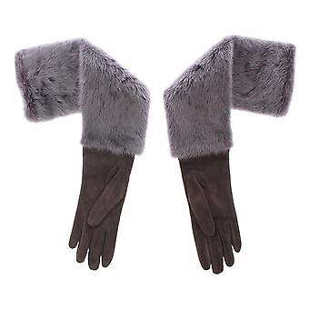 Dolce & Gabbana Gray Mink Fur Lambskin Suede Leather Gloves MOM11434-3