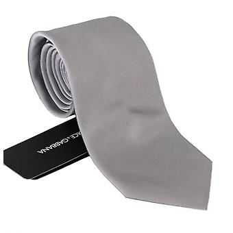 Gray 100% silk classic mens slim necktie accessory
