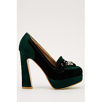 Zwei-Ton-Heeled Loafer Schuhe