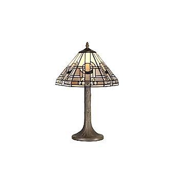1 albero leggero come lampada da tavolo E27 con 30cm Tiffany Shade, Bianco, Grigio, Nero, Cristallo chiaro, Ottone Antico Invecchiato