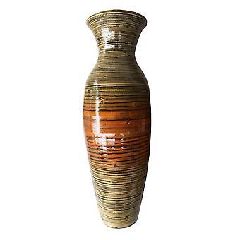 "29.5"" Tall Distressed Gold Spun Bamboo Floor Vase"