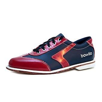 Bowlio Verona leather bowling shoes with leather sole in black red