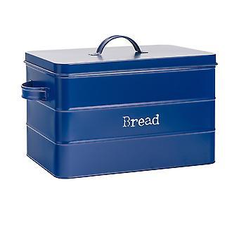 Industriel brød bin - Vintage Style Stål Køkken Opbevaring Caddy med låg - Navy