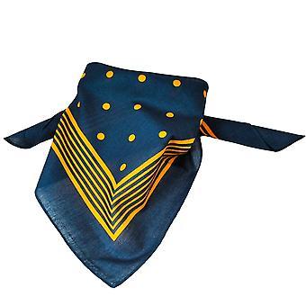 Ties Planet Navy Blue With Gold Stripes & Polka Dot Bandana Neckerchief