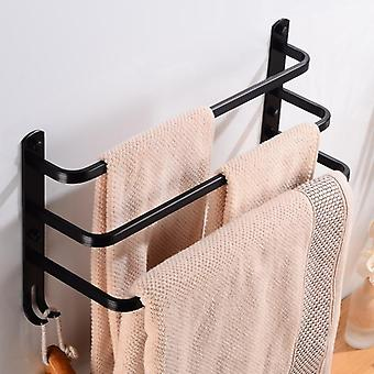 Aluminum Three Layer Towel Bar Holder - Hanger With Hooks
