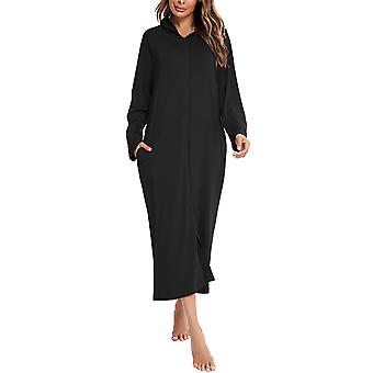 Ladies winter fleece pajamas long gown plush, loose and comfortable pajamas