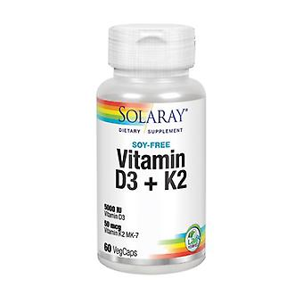 Solaray-vitamiini D-3 & K-2, 60 korkkia