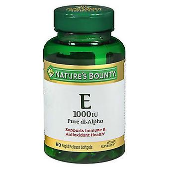 Nature's Bounty Vitamin E Softgels, 1000 IU, 60 Caps