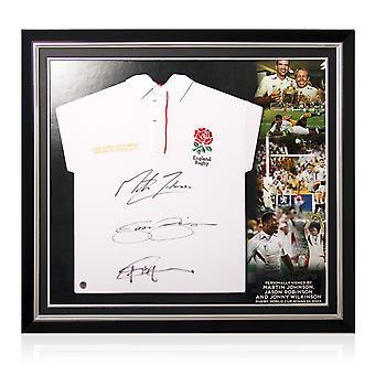Jonny Wilkinson, Martin Johnson und Jason Robinson signierten England Rugby Shirt. Premium-Rahmen