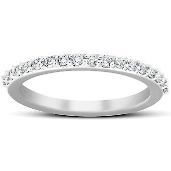 1/4Ct خاتم الماس مطابقة قابل للتكويم فرقة الخطوبة 14k الذهب الأبيض