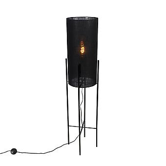 QAZQA Design floor lamp black linen shade black - Rich
