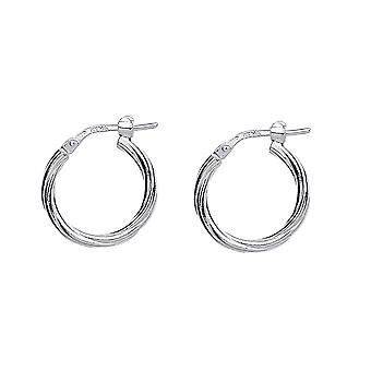 Jewelco London Ladies Rhodium Plated Sterling Silver # Twisted Hoop Earrings 18mm 2mm