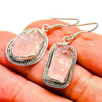 "Rough Rose Quartz Earrings 1 1/2"" (925 Sterling Silver)  - Handmade Boho Vintage Jewelry EARR407494"