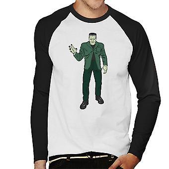 Frankenstein Monster Pose Illustration Men's Baseball Long Sleeved T-Shirt