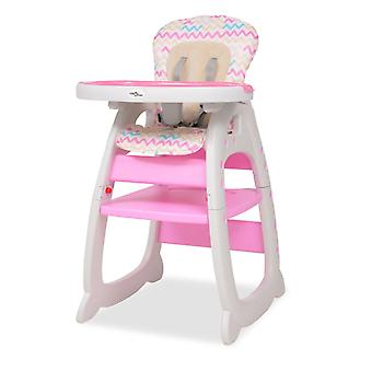 3-in-1 convertible high chair with dining board pink