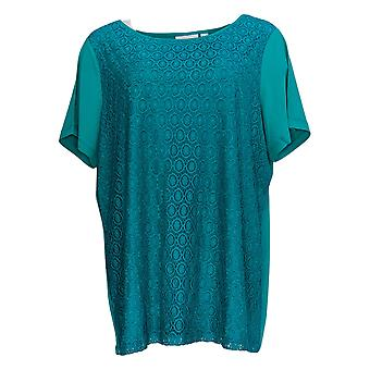 Susan Graver Women's Plus Top Stretch Lace W/Liquid Knit Bk Green A377172