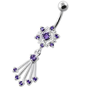 Purple Crystal Stone Chandelier Star Dangling Sterling Silver Belly Bars Piercing