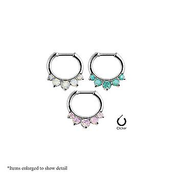 16Ga fem pronged opal lite 316l stål septum klicker ring - 3 färger