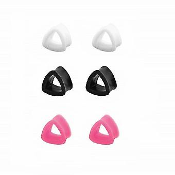Pair of silicone triangle design ear plugs 8ga- 11/16