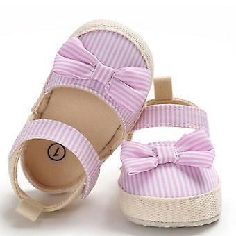 Neugeborenes Baby weiche Krippe Schuhe Anti-Rutsch Sneaker gestreift Schleife Prewalker 0-18m