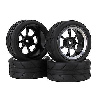 4 x Black Arrow Rubber Tyre Tire+7 Spoke Alloy Wheel Rim for RC1:10 On Road Car
