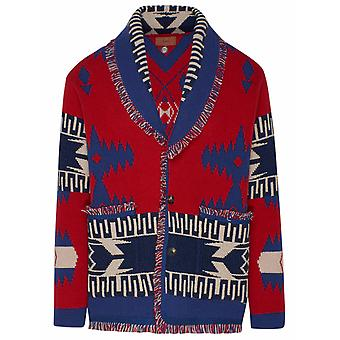Alanui Lmhb018r21kni0012585 Men's Blue/red Cashmere Cardigan