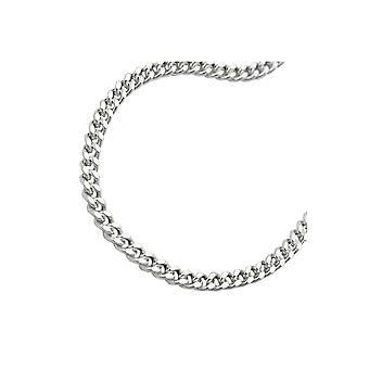 Colar cadeia de meio-fio plano prata 925 60cm