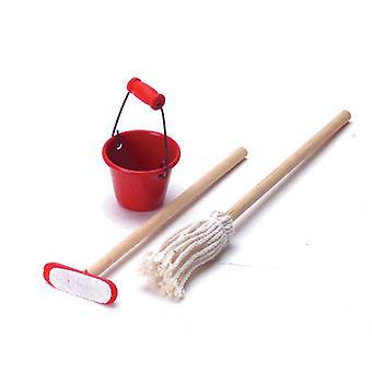 Nuket Talo Miniatyyri 1:12 Asteikko Keittiö Puhdistus Tarvikkeet Bucket Mop & Luuta