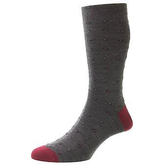 Pantherella Parbury Paisley Contraste Heel and Toe Wool Socks - Dark Grey Mix