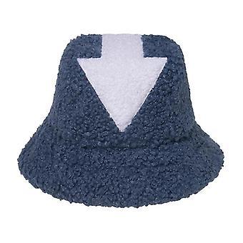 Hip Hop Lamb Wool Fishing Caps, Faux Fur Arrow Symbol Bucket Hats Women