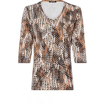 Olsen Jersey Tan Patterned Top