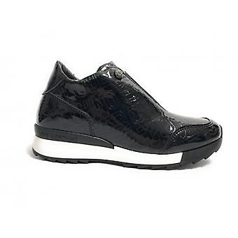 Zapatos zapatillas para mujer Scamiciata Love Moschino Pu Laminate Negro En relieve D18mo16