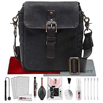Ona the bond street camera messenger bag (waxed canvas, black) with xpix travel photo cleaning kit